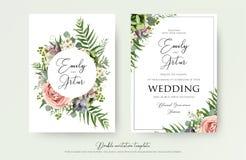 La invitación floral de la boda elegante invita, gracias, tarjeta v del rsvp stock de ilustración