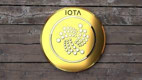 La iota se cierra para arriba, tabla de madera, moneda de oro libre illustration