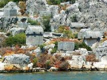La isla de Kekova y las ruinas de la ciudad hundida de Simena Turquía Imágenes de archivo libres de regalías