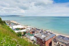 La isla de Shanklin del turista popular BRITÁNICO de Inglaterra del Wight y la costa este de la ubicación del día de fiesta de la Foto de archivo libre de regalías