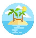 La isla del icono del círculo de las vacaciones de verano con las palmas asolea y la hamaca es Imagen de archivo libre de regalías