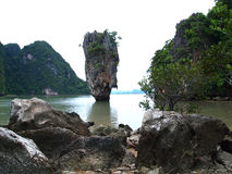 La isla Khao Tapu o Ko Tapu Tailandia Imagen de archivo