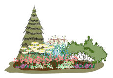 La isla pintoresca de flores ilustración del vector
