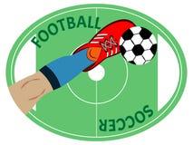 La jambe de joueur de football donne un coup de pied le ballon de football Symbole, emblème ou correction de sport illustration stock