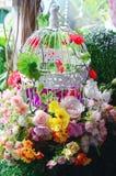 La jaula de pájaros con el flor y la fruta de la primavera florece la boda Fotos de archivo libres de regalías