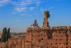 La jerarquía de la cigüeña en las paredes del EL Badi (Marruecos) de Palais Fotografía de archivo