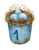 La jerarquía del pájaro con los huevos azules en un metal oxidado buckets, la decoración casera para Pascua ilustración del vector