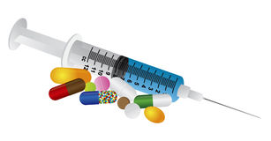 La jeringuilla con la medicación droga el ejemplo de las píldoras ilustración del vector