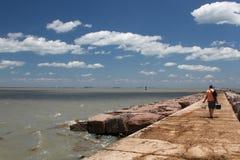 La jetée du sud du port Aransas, le Texas Photo libre de droits