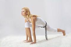 La jeune belle fille est engagée dans le yoga Images libres de droits