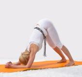 La jeune belle fille est engagée dans le yoga Photographie stock libre de droits