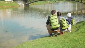 La jeune famille alimente des canards en parc près du lac Le petit garçon aide à jeter la nourriture pour des oiseaux dans l'eau banque de vidéos