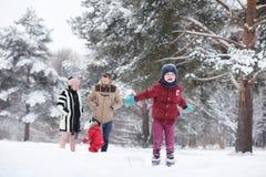 La jeune famille avec des enfants marchent en parc d'hiver Winte Photos stock