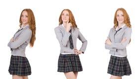 La jeune femelle de pensée d'étudiant d'isolement sur le blanc images libres de droits