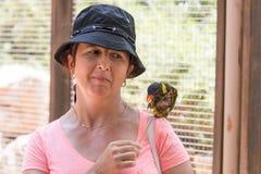 La jeune femme alimente des perroquets au zoo australien Gan Guru dans les kibboutz Nir David, en Israël Image libre de droits