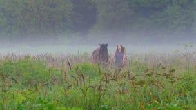 La jeune femme avec les cheveux rouges marche avec un cheval de couleur brune sur le champ dans le brouillard banque de vidéos