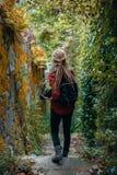 La jeune femme avec les dreadlocks blonds avec le photocamera observent la jungle Photographie stock