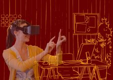la jeune femme avec les verres 3D recouvrent avec les lignes oranges de nouveau bureau sur le fond rouge foncé Photos stock