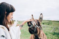 La jeune femme caresse un âne heureux Image stock