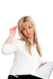 La jeune femme d'affaires blonde est Photo stock