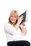 La jeune femme d'affaires blonde est Photographie stock