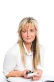 La jeune femme d'affaires blonde est Photos libres de droits
