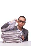 La jeune femme d'affaires dans le bureau d'isolement sur le blanc Photos libres de droits