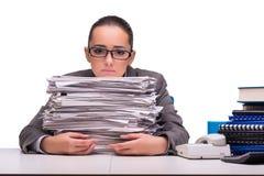 La jeune femme d'affaires dans le bureau d'isolement sur le blanc Photos stock