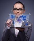 La jeune femme d'affaires dans le concept en ligne de réservation de voyage Image stock
