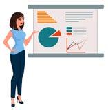 La jeune femme d'affaires de bande dessinée dans le bureau vêtx le conseil proche debout avec infographic illustration de vecteur