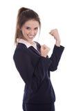 La jeune femme d'affaires réussie a atteint des objectifs ou est heureuse de faire photographie stock