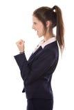 La jeune femme d'affaires réussie a atteint des objectifs ou est heureuse de faire image libre de droits