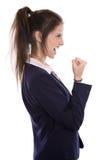 La jeune femme d'affaires réussie a atteint des objectifs ou est heureuse de faire photographie stock libre de droits