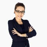 La jeune femme d'affaires travaille à un bureau Image libre de droits