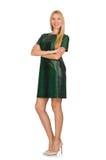 La jeune femme dans la robe verte d'isolement sur le blanc Photo libre de droits