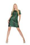 La jeune femme dans la robe verte d'isolement sur le blanc Photos libres de droits