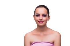La jeune femme dans le concept de beauté d'isolement sur le blanc Images libres de droits