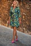 La jeune femme dans une robe marche Photographie stock