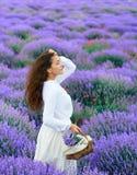 La jeune femme est dans le domaine de fleur de lavande, beau paysage d'?t? images libres de droits