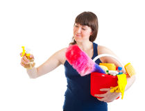 La jeune femme est prête pour le nettoyage Image stock