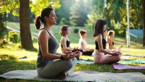 La jeune femme médite dans le matin dans le lever de soleil de moment de parc dans le mouvement lent banque de vidéos
