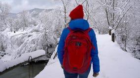 La jeune femme marche à travers le pont à travers la rivière Paysage couvert de neige de bel hiver banque de vidéos
