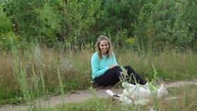 La jeune femme marche avec le chien dans la forêt Photo stock