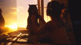 La jeune femme porte des écouteurs et la détente avec son beau chat de Maine Coon dans le mouvement lent à la fenêtre avec la vil Photo libre de droits