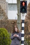 La jeune femme regarde son téléphone portable et ne prête pas l'attention à images libres de droits
