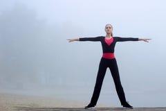 La jeune femme sportive faisant le yoga s'exerce pendant la séance d'entraînement de formation Photographie stock libre de droits