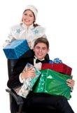 La jeune fille de neige donne des cadeaux à Noël Photos libres de droits