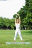 La jeune fille de sport font le yoga Photographie stock