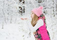 La jeune fille enlève à l'air comprimé des flocons de neige de paume Photo libre de droits