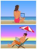 La jeune fille et le type à la plage font l'ensemble éloigné de travail illustration stock